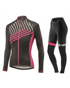 2017 Liv Accelerate Women's Black-Pink Long Sleeve Cycling Jersey And Pants Set