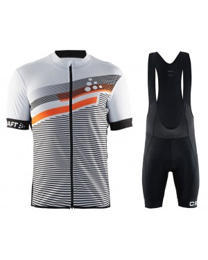2018 Craft Reel Graphic White Cycling Jersey And Bib Shorts Set