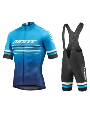 2019 Giant Race Day Blue Cycling Jersey And Bib Shorts Set