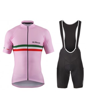 2016 De Marchi PT Italy Flag Pink - Short Sleeve Cycling Jersey And Bib Shorts