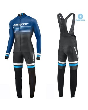 2019 Giant Race Day Dark Blue Thermal Cycling Jersey And Bib Pants Set