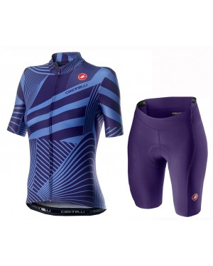 2020 Castelli Sublime Blue Women Cycling Jersey And Shorts Set