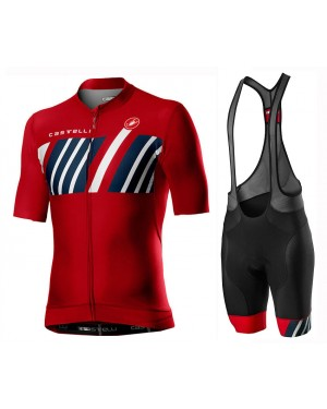 2020 Castelli Hors Categorie Red Cycling Jersey And Bib Shorts Set