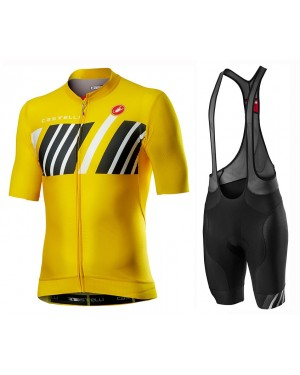 2020 Castelli Hors Categorie Yellow Cycling Jersey And Bib Shorts Set
