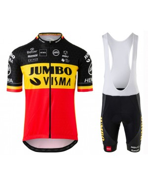 2020 Team JUMBO-VISMA Belgium Champion Cycling Jersey And Bib Shorts Set
