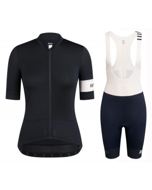 2020 Rapha Pro Team Women's Black-White Cycling Jersey And Shorts Set
