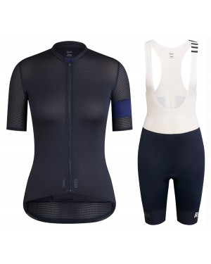 2020 Rapha Pro Team Women's Black-Blue Cycling Jersey And Shorts Set