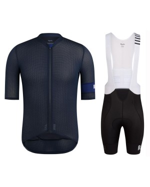 2020 Rapha Pro Team Black-Blue Cycling Jersey And Bib Shorts Set