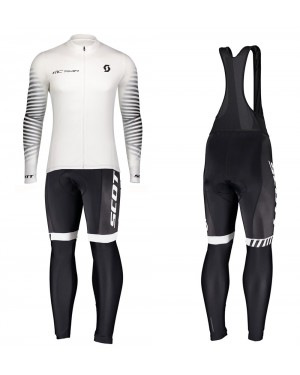 2020 Scott RC Team 1.0 White Long Sleeve Cycling Jersey And Bib Pants Set