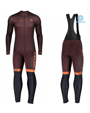 2020 Scott RC Team 1.0 Claret Thermal Cycling Jersey And Bib Pants Set
