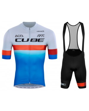 2020 Team Cube Pro Cycling Grey-Blue Cycling Jersey And Bib Shorts Set
