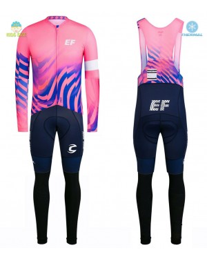 2020 EF Pro Cycling Team Pink Kids Thermal Cycling Jersey And Bib Pants Set