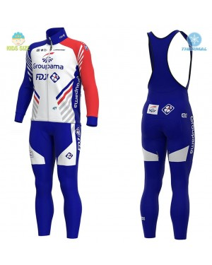 2020 Team FDJ Kids Thermal Cycling Jersey And Bib Pants Set