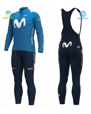 2020 MOVISTAR Team Kids Thermal Cycling Jersey And Bib Pants Set