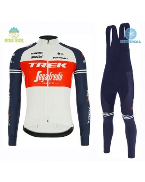 2020 Trek Segafredo Factory Racing White-Red Kids Thermal Cycling Jersey And Bib Pants Set