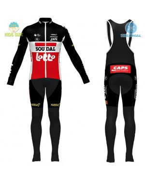 2020 Team Lotto Red Kids Thermal Cycling Jersey And Bib Pants Set
