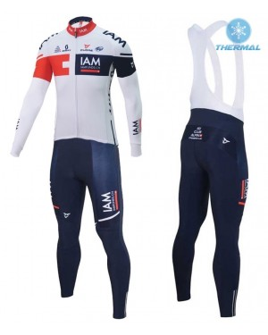 2016 Team IAM White - Thermal Long Sleeve Cycling Jersey And BIB Pants Kit