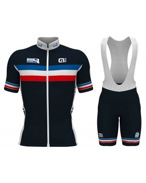 2017 French National Team Short Sleeve Cycling Jersey And Bib Shorts Set