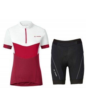 2017 Vaude Advanced II Women's White-Red Short Sleeve Cycling Jersey And Shorts Set