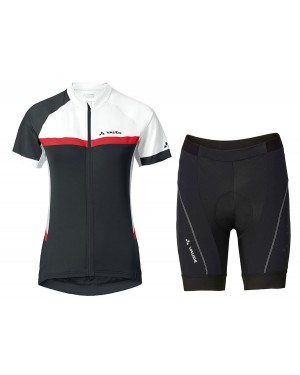 2017 Vaude Pro II Women's White-Red-Black Short Sleeve Cycling Jersey And Shorts Set