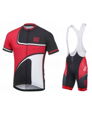 2016 Rose Retro Black-Red - Short Sleeve Cycling Jersey And Bib Shorts