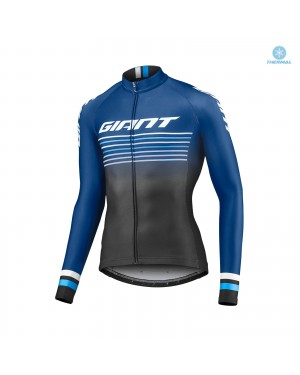 2019 Giant Race Day Dark Blue Thermal Long Sleeve Cycling Jersey
