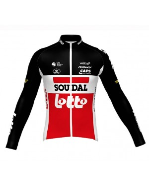 2020 Lotto Soudal Red Long Sleeve Cycling Jersey