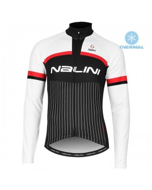 2020 Nalini Thebe Black-White Thermal Long Sleeve Cycling Jersey