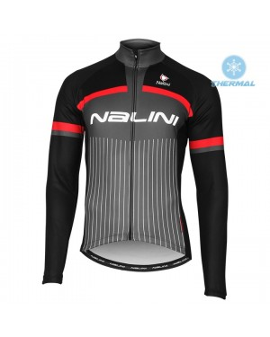 2020 Nalini Thebe Black-Red Thermal Long Sleeve Cycling Jersey
