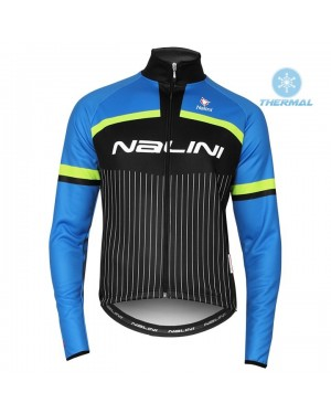 2020 Nalini Thebe Black-Blue Thermal Long Sleeve Cycling Jersey