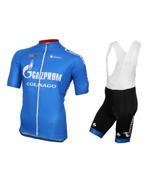 2016 Gazprom-Rusvelo Colnago Blue - Short Sleeve Cycling Jersey And Bib Shorts