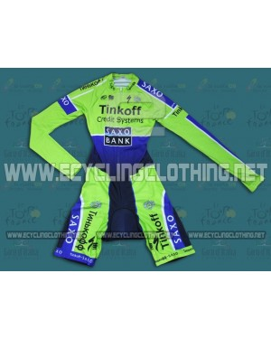 2014 Saxo Bank TDF Fluorescent - Long Sleeve Cycling Skinsuit Time Trail Skin Suits