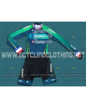 2014 Team Europcar France Champion - Long Sleeve Cycling Skinsuit Time Trail Skin Suits