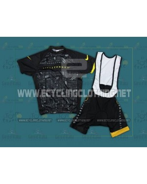 2012 Black LiveStrong - Short Sleeve Cycling Jersey And Bib Shorts