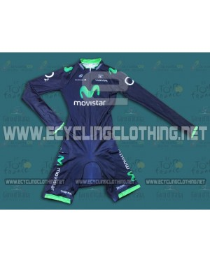 2014 Team Movistar TDF - Long Sleeve Cycling Skinsuit Time Trail Skin Suits