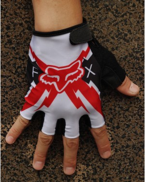 2014 Team Fox White And Red  - Cycling Glove
