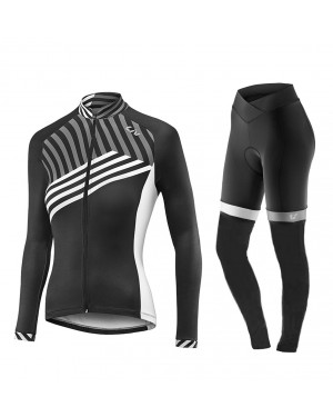 2017 Liv Accelerate Women's Black-White Long Sleeve Cycling Jersey And Pants Set
