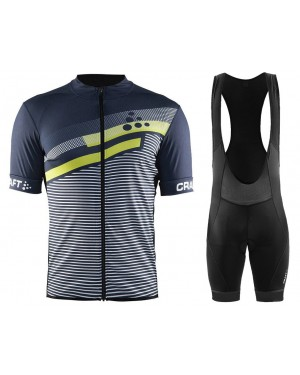 2018 Craft Reel Graphic Green-Grey Cycling Jersey And Bib Shorts Set