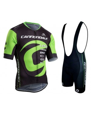2018 Cannondale Factory Black-Green Cycling Jersey And Bib Shorts Set