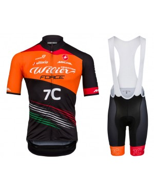 2018 Wilier Force 7C Orange Cycling Jersey And Bib Shorts Set