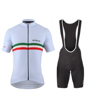 2016 De Marchi PT Italy Flag White - Short Sleeve Cycling Jersey And Bib Shorts