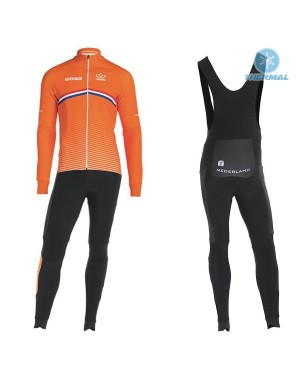 2019 Nederland Country Team Thermal Cycling Jersey And Bib Pants Set