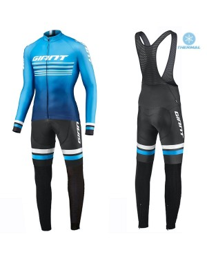 2019 Giant Race Day Light Blue Thermal Cycling Jersey And Bib Pants Set