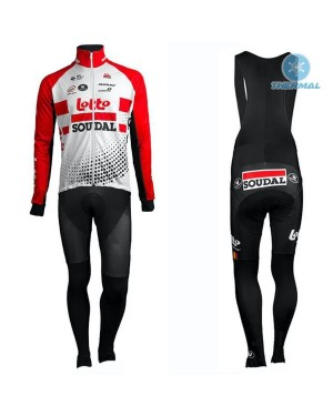 2019 Team Lotto Red Thermal Cycling Jersey And Bib Pants Set