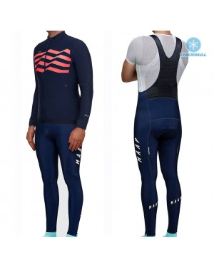 2019 MAAP M-Flag Ultra Blue-Red Thermal Cycling Jersey And Bib Pants Set