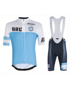 2020 Argentina Country Team Cycling Jersey And Bib Shorts Set