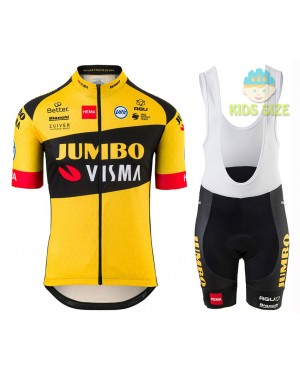2020 Team JUMBO-VISMA Kids Cycling Jersey And Shorts Set