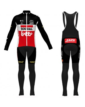 2020 Lotto Soudal Red Long Sleeve Cycling Jersey And Bib Pants Set