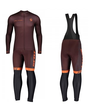 2020 Scott RC Team 1.0 Claret Long Sleeve Cycling Jersey And Bib Pants Set