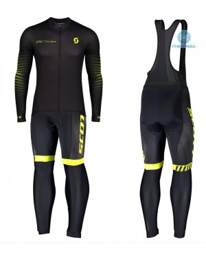 2020 Scott RC Team 1.0 Black-Yellow Thermal Cycling Jersey And Bib Pants Set